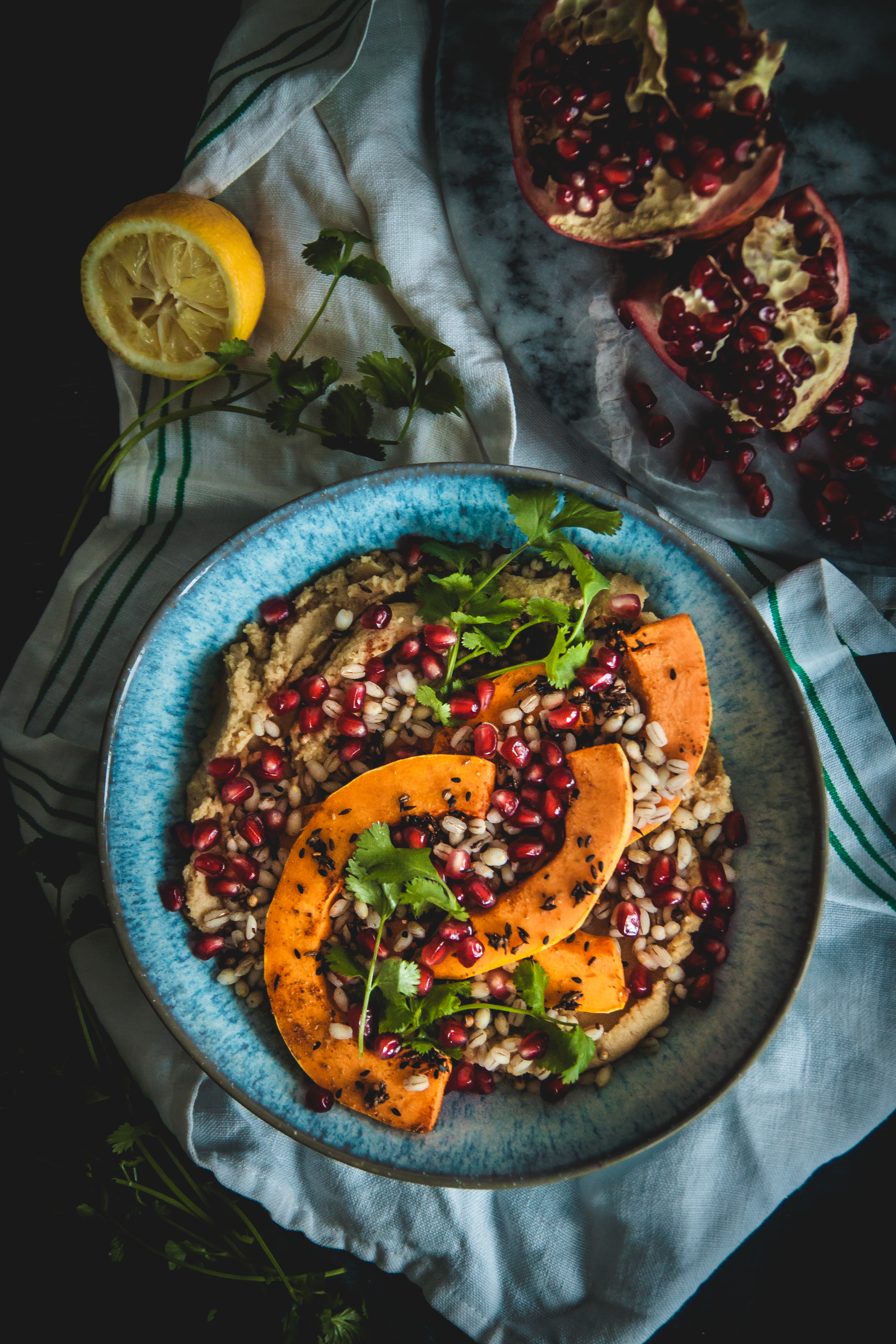 Hummus aand pearly barley bowls with butternut squash, pomegranate and spices 1